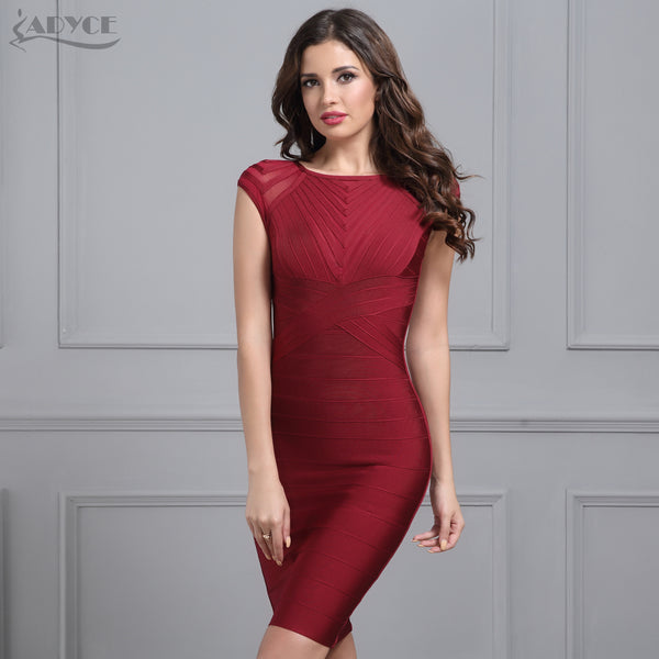 44a999b7ab Elegant Bandage Dress Women 2018 Black Wine Red O neck Short sleeve mesh  hot Celebrity Runway Dress Evening Party Dress Vestidos