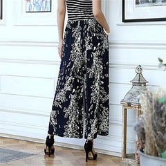 Women summer cotton and linen wide leg pants big yards loose pant fashion culottes elastic waist pantyhose female casual pants