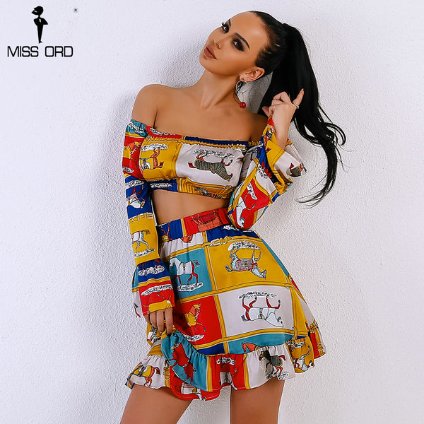 Missord 2018 Sexy Spring and Summer Slash Neck Off Shoulder Woman Two b067c2a03e80