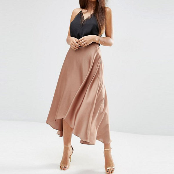 Bohemian Saia Faldas 2017 Silk Chiffon High Low Skirts For Women Zipper Custom Made Adult Female Skirt High End Zipper