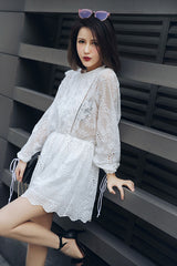 2018 summer cross long sleeve fashion jumpsuits women's embroidery lace bohemian playsuits white hollow out holiday bodysuits