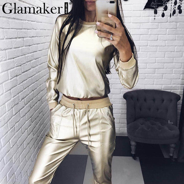 Glamaker leather two piece set winter suit Women party club streetwear overalls combine Spring fleece finess jumpsuit romper new