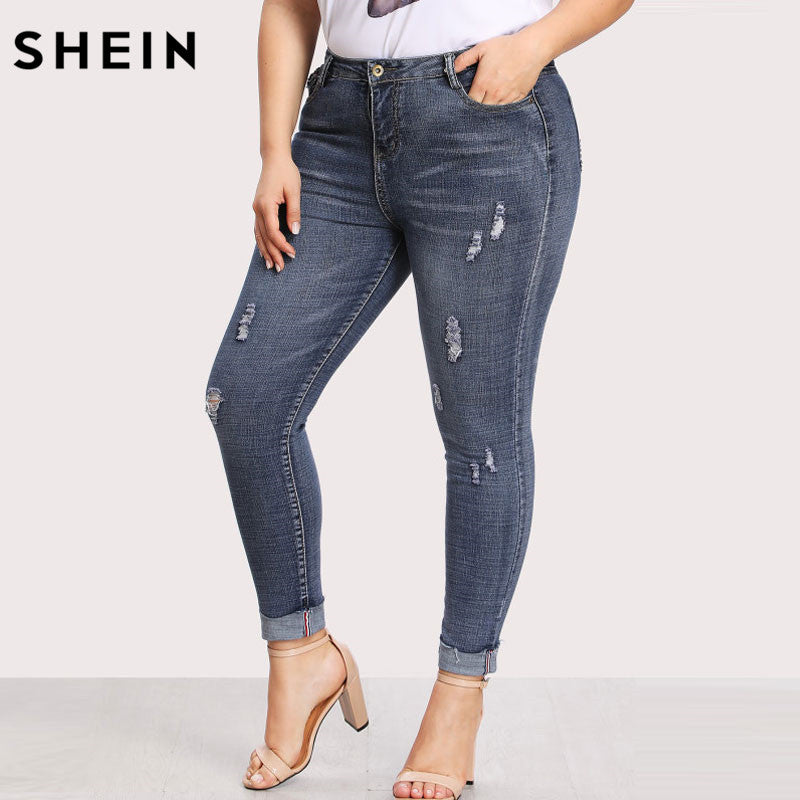 purchase original newest style of reasonably priced SHEIN Casual Plus Size Jeans High Waist Women Pocket Back Ripped Pants Slim  Denim Trousers For Woman Spring Skinny Jeans