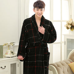 2017 Winter Plaid Flannel Robes Male bathrobe men Plus Size warm luxury autumn Coral Fleece Dressing Gown long nightdress
