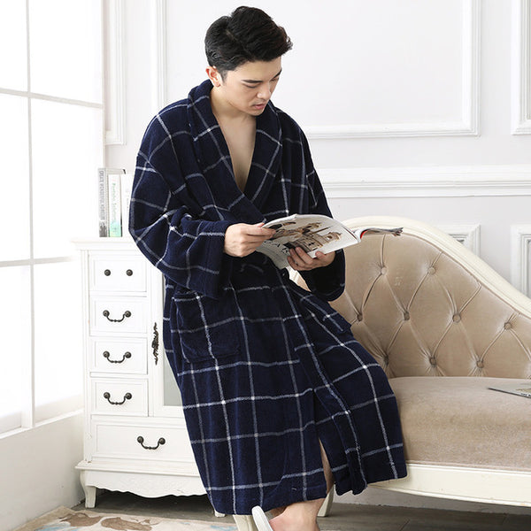2017 Winter Plaid Flannel Robes Male bathrobe men Plus Size warm luxur