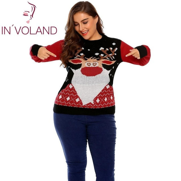 ... IN VOLAND Plus Size L-4XL Women Christmas Sweater Tops Autumn Winter  Large Pullovers 2c40c0898e4b