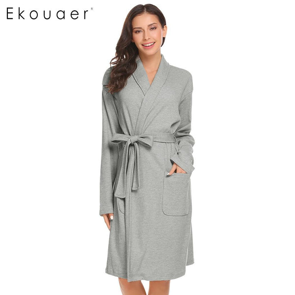 Ekouear Women Sleep Robe Shawl Collar Wrap Long Sleeve Bathrobe Sleepwear With Belt Cotton Female Kimono Robe Dressing Gown