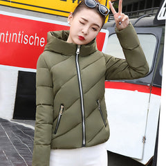 2018 new fashion jacket women autumn winter womens basic jacket hood short outwear female cotton padded coat student