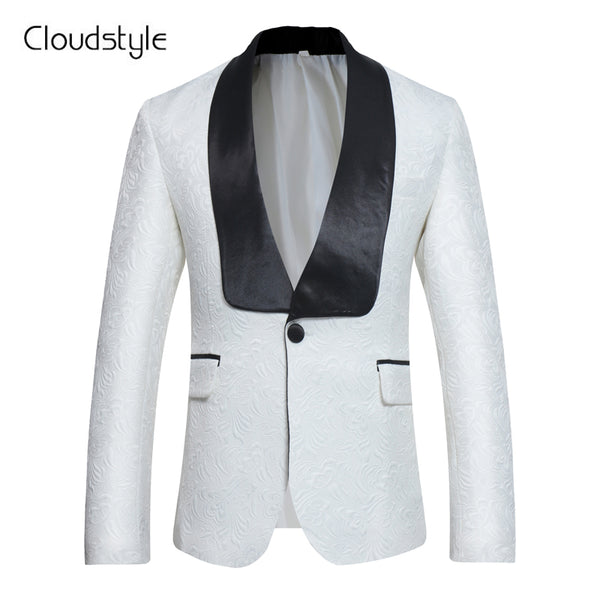 New Arrival White Male Blazer 2018 Cloudstyle Own Design Fashion Suits Jacket Men Casual Slim Fit Brand Overcoat Clothing Men
