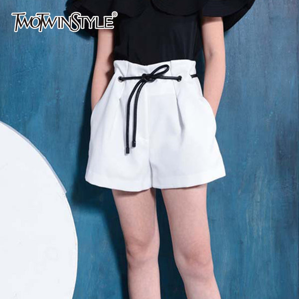 TWOTWINSTYLE Spring Shorts for Women Lace up High Waist Wide Leg Short Trousers Female Large Big Size White Shorts Summer Clothe