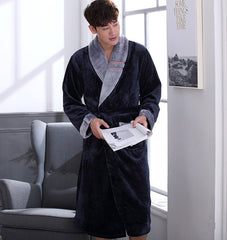 CherLemon Winter Flannel Robe Sleepwear Thicking Mens Warm Spa Bathrobe Pajamas Male Long Sleeve Belt Solid Soft Homewear