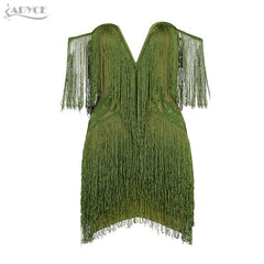 Adyce 2018 New Women Bandage Dress Elegant Club Party Dresses Sexy V Neck Off Shoulder Tassels Embellished Mini Fringe Dress