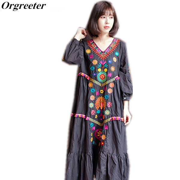 90b4e60d2b Top Quality New Women Vintage Ethnic Flower Embroidered Cotton Tunic C