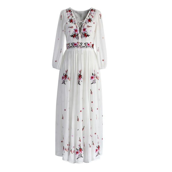 aa1669e77360 TEELYNN White boho long dress cotton 2018 Vintage floral Embroidery ta