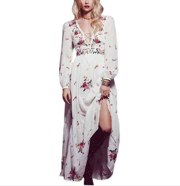 c56ce09d5457 ... TEELYNN White boho long dress cotton 2018 Vintage floral Embroidery  tassel Casual maxi dresses hippie women