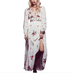 TEELYNN White boho long dress cotton 2018 Vintage floral Embroidery tassel Casual maxi dresses hippie women dress brand clothing