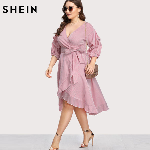 c6a84ea75a93d SHEIN Pink Plus Size Striped Dress V neck Women Dress Lantern Sleeve R