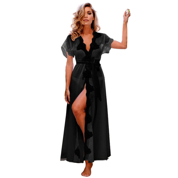 Long Maxi Sleep Dress For Women 2018 Summer Lace Nightgown Ladies Sexy Sleepwear Nightdress Chiffon Night Gown Wear Nuisette
