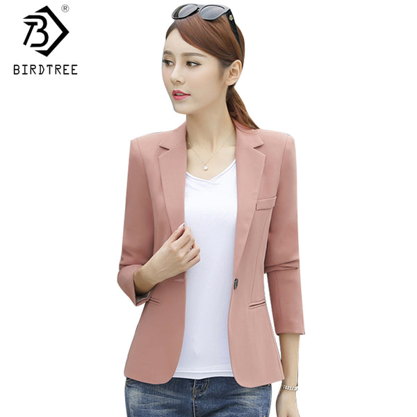 Ladies Short Suit Jackets Women Blazer Elegant One Button Coat Women B