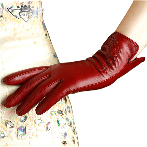 c85a1e284 KLSS Brand Genuine Leather Women Gloves High Quality Goatskin Gloves A