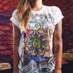 New Fashion Summer T shirt women tops Short Sleeve Cotton t-shirt women Retro Graffiti Flower Printed funny t shirts 2017