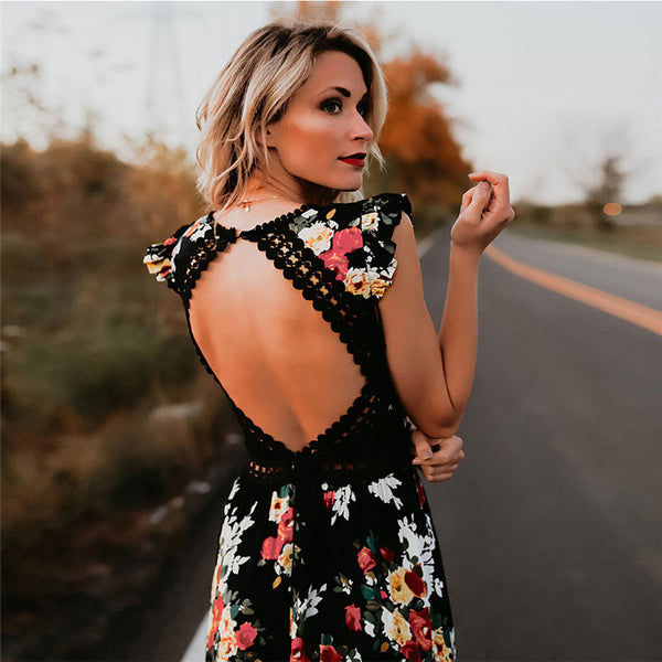 Women Boho Backless Irregular Floral Pinted Dress 2018 Summer Deep V High Waist Trim Dresses Open Back Party Vestidos