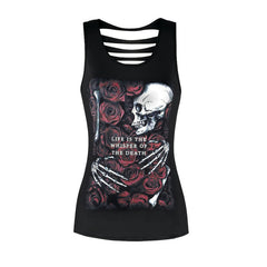2018 New 3D Printed Women Tank Tops Black 6 Styles Sexy Hollow Backless Sleeveless T-shirt Bird Dog Skeleton Print Fitness Vest