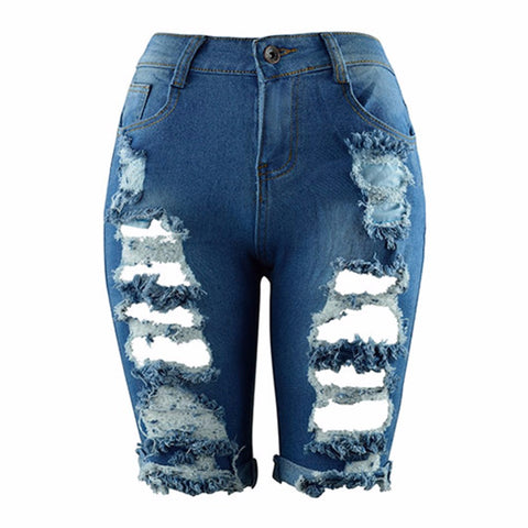 iSHIEN 2017 New women shorts jeans short feminino denim femme mujer mid waist hole sexy hot summer fashion chic plus size 3XL