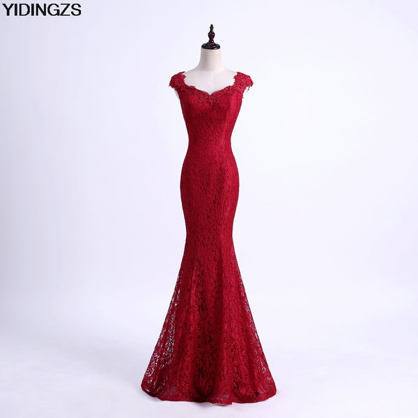 41092052d7 YIDINGZS Elegant Beads Lace Mermaid Long Evening Dress 2018 Simple Wine Red  Party Dresses Robe De Soiree Longue