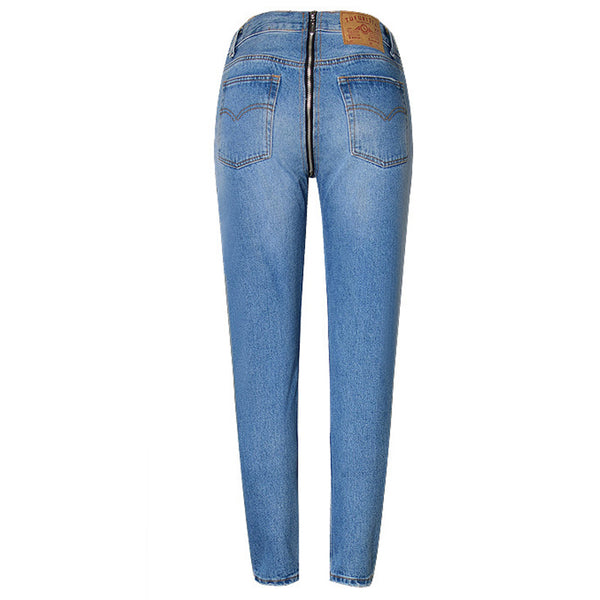 Women High Waist Denim Back Zipper Jeans Plus Size Hips Fake Zippers Denim Pants Fashion Jeans Femme 2018 ZIH612