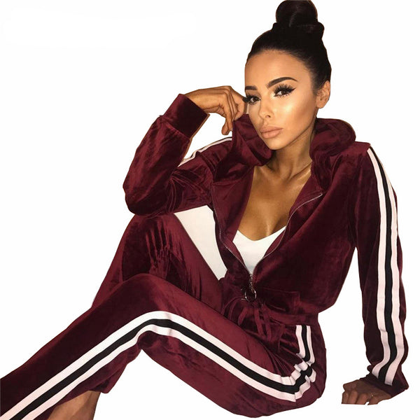Women Casual Velvet Tracksuit 2017 Autumn Winter Striped Pullover Hoodies Jacket+Pants Two Pieces Set Chandal Mujer Completo