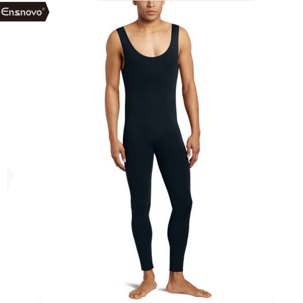 Ensnovo Men Ballet Tights Gymnastics Dancewear Unitard Lycra Nylon Sleeveless Black Tank Top Backless Custom Skin Suits Costumes