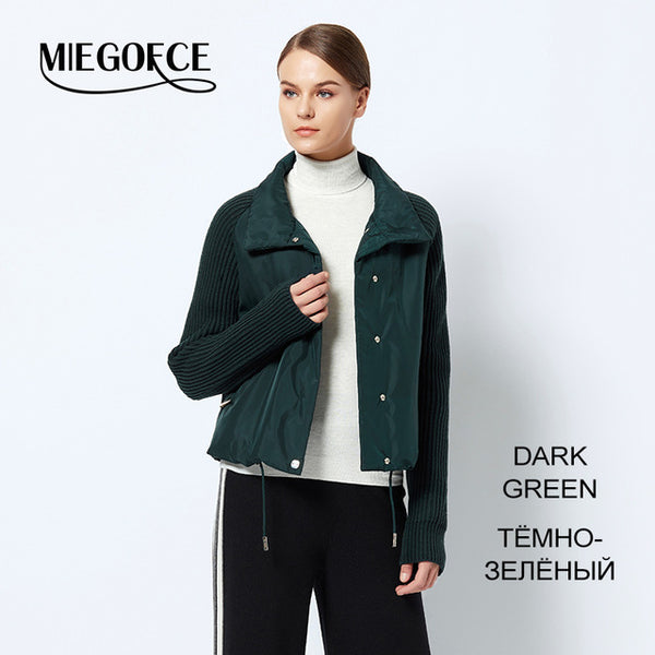 1cc87e892 MIEGOFCE 2018 Short Women's Coat And thin cotton padded jacket Spring  Women's Jacket Stylish With Collar New Spring Collection