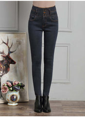 3 colors Plus size S-5XL Women jeans with single breasted and zipper fashion all match pure color slim ladies denim pants HM1058