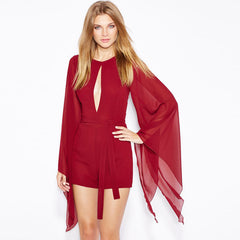Cape Sleeve Sexy Open Front Jumpsuit Red Lace Up Casual Club Jumpsuit Women Elegant Jumpsuits