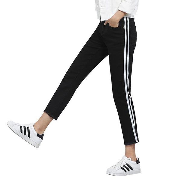 c4360e950cf0 ... black jeans woman with side stripes skinny Tassel 4 5 6xl plus size  women Elastic stretch