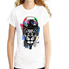 Harajuku Style Women's Tops Funny Animals T Shirt 3D Rock Crazy Cat Happiest Love Bear Crown Lion Cut Dog Printed tshirt