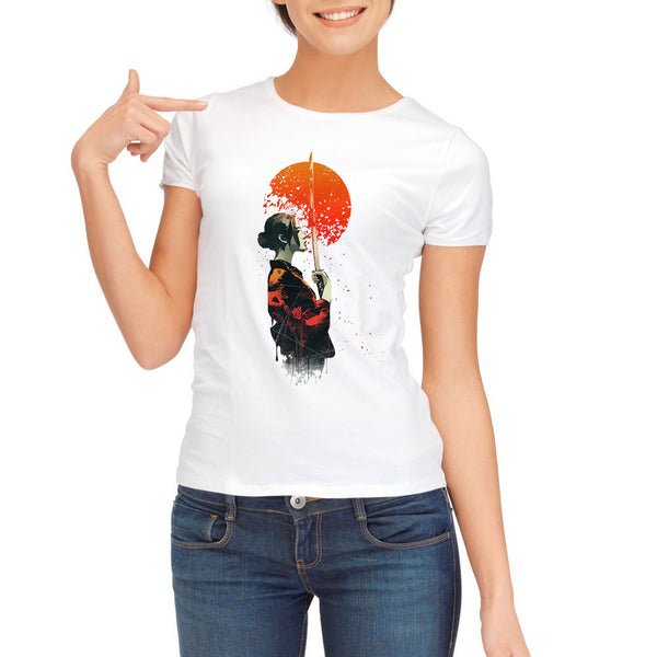 2017 Fashion Fire Samurai Printed Women T-Shirt Short Sleeve Casual T Shirts Newest Lady Funny Tee