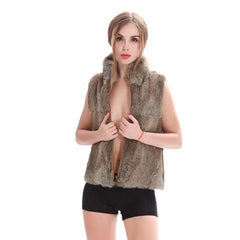 ZY88041-1 Autumn Genuine Natural Fur Rabbit Fur Vest Mandarin Collar Winter Women Fur Waistcoat Female Outerwear Coats Gilet