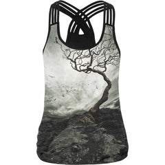 Alone Tree At Mountaintop Bleak Scene 3D Print Tank Tops Women Summer Sleeveless Camisole Female Sexy Halter Top Vest