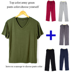 SusanDick 2018 Summer Autumn Mens Pajamas Set Short Sleeve Casual Tee Shirt Sleep Pants Two Piece Set Man Modal Home Clothes 4XL