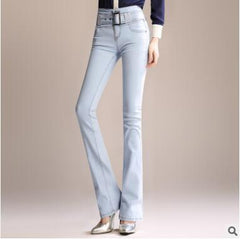 2018 new spring and autumn Fashion casual cotton high waist plus size brand female women girls flare pants jeans clothes 79129