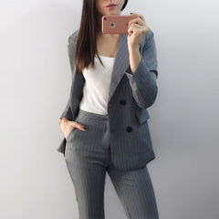 Work Fashion Pant Suits 2 Piece Sets Double Breasted Stripe Blazer Jacket & Straight Pant Office Lady Suit Women Outfits 2018