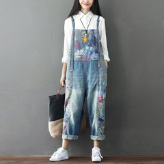 2018 Women's Wide Leg Jeans Full Length Loose Denim Overalls Washed Print Ripped Hole Overalls