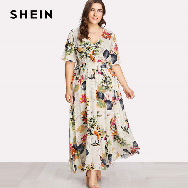 SHEIN Floral Plus Size White Dress Women Maxi Long Dresses Large Sizes  Print V,neck Button Front Shirred Waist Tropical Dress