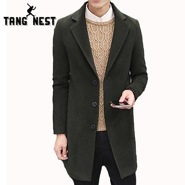 Tangnest Autumn Winter Coat Men 2018 New Arrival Casual Fashion Long T