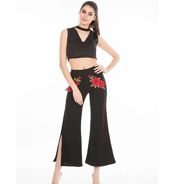 Leo Grand women black elastics waist retro ankle length pants side split floral patch trousers wide leg female pant 902105