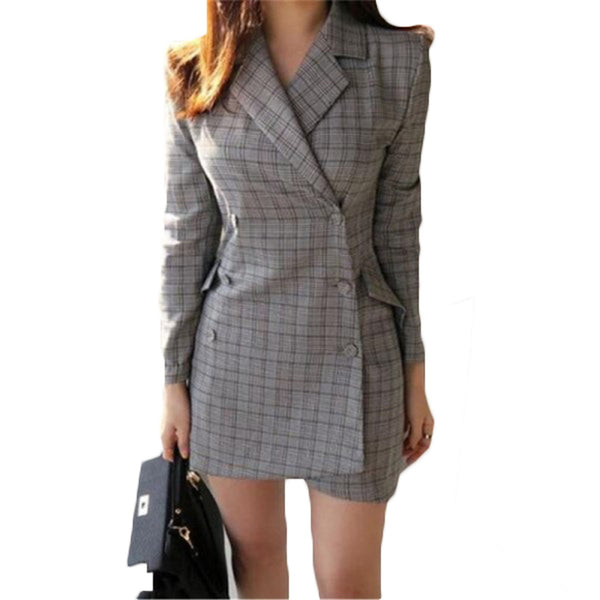 2018 Spring Autumn Gray Plaid Blazer Women Notched Collar Long Sleeve OL Blaser Femenino Casual Suit Jacket Coat Z459