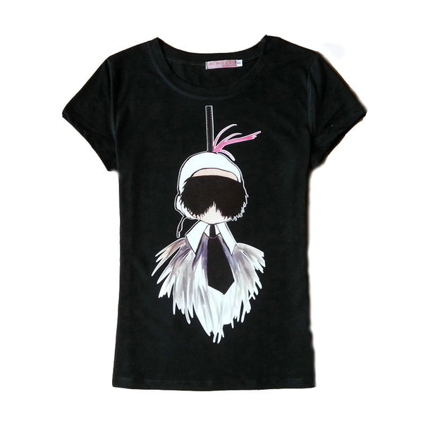 2017 Summer Style Fashion Short Sleeve T shirt Women Tops camisetas O-neck Cotton Lady Cartoon Print  Tshirt  Tee Black White
