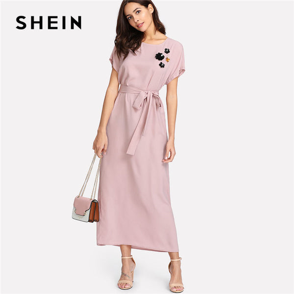 2acc8c4205 SHEIN Pink Flower Applique Dolman Sleeve Maxi Dress 2018 Women Spring